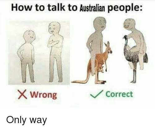 What Is Correct Way To Talk About >> How To Talk To Australian People X Wrong Correct Only Way Meme On