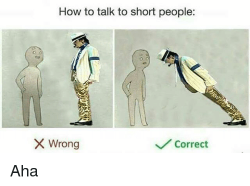 Memes, How To, and 🤖: How to talk to short people:  Wrong  Correct Aha