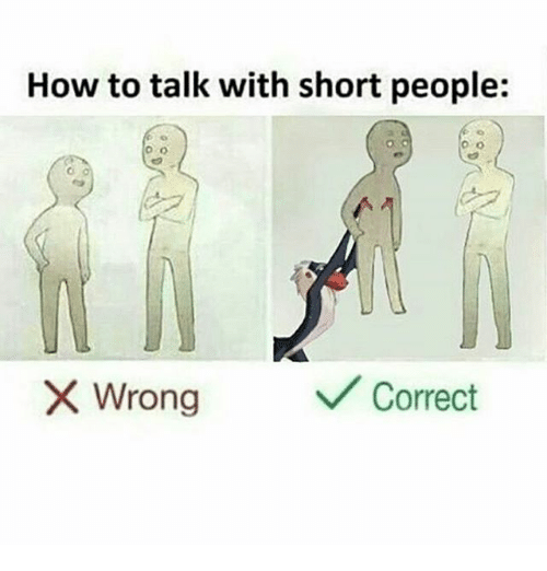 How to Talk With Short People Wrong Correct   Meme on ME.ME