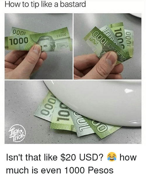 Memes, How To, and 🤖: How to tip like a bastard  1000 Isn't that like $20 USD? 😂 how much is even 1000 Pesos
