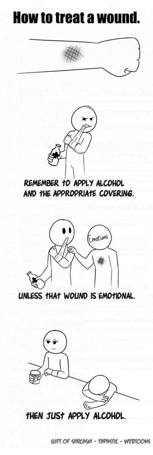 Alcohol, How To, and How: How to treat a wound.  REMEMBER tO APPLY ALCOHOL  AND THE APPROPRIATE COVERING.  motions  UNLESS HAt WOUND IS EMOtIONAL.  tHEN JUSt APPLY ALCOHOL
