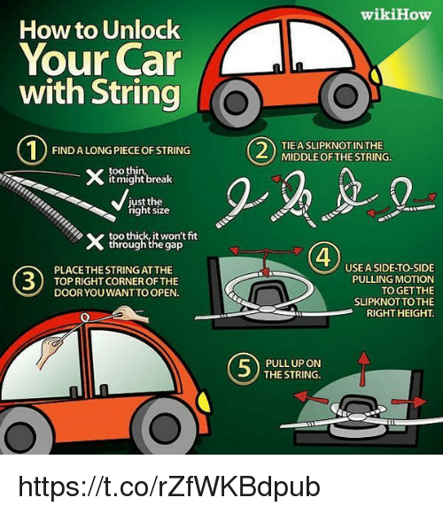 how to unlock your car with string find a long piece of string too thin might break just the. Black Bedroom Furniture Sets. Home Design Ideas