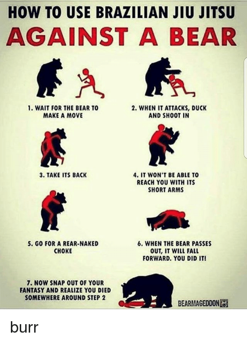 Fall, Memes, and Bear: HOW TO USE BRAZILIAN JIU JITSU  AGAINST A BEAR  1. WAIT FOR THE BEAR TO  MAKE A MOVE  2. WHEN IT ATTACKS, DUCK  AND SHOOT IN  3. TAKE ITS BACK  4. IT WON'T BE ABLE TO  REACH YOU WITH ITS  SHORT ARMS  5. GO FOR A REAR-NAKED  CHOKE  6. WHEN THE BEAR PASSES  OUT, IT WILL FALL  FORWARD. YOU DID IT!  7. NOW SNAP OUT OF YOUR  FANTASY AND REALIZE YOU DIED  SOMEWHERE AROUND STEP 2  BEARMAGEDDON burr