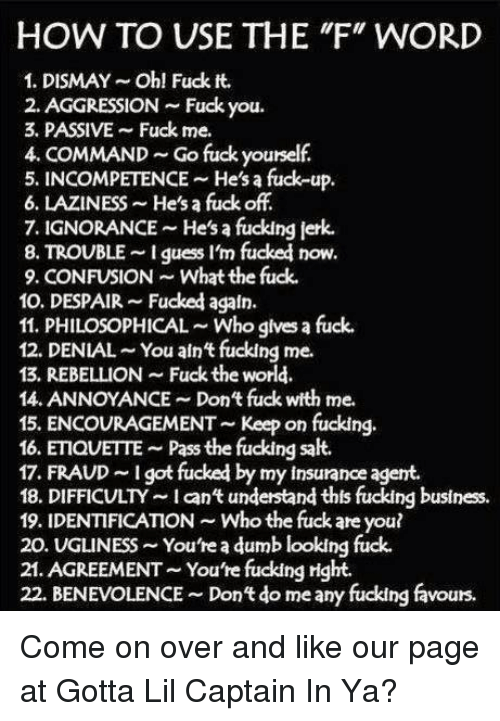 Dumb, Fuck You, and Fucking: HOW TO USE THE