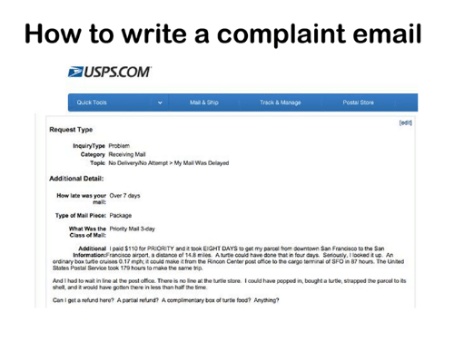 writing a complaint email