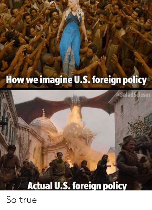 Reddit, True, and How: How we imagine U.S. foreign policy  SaladScissor  Actual U.. foreign policy So true