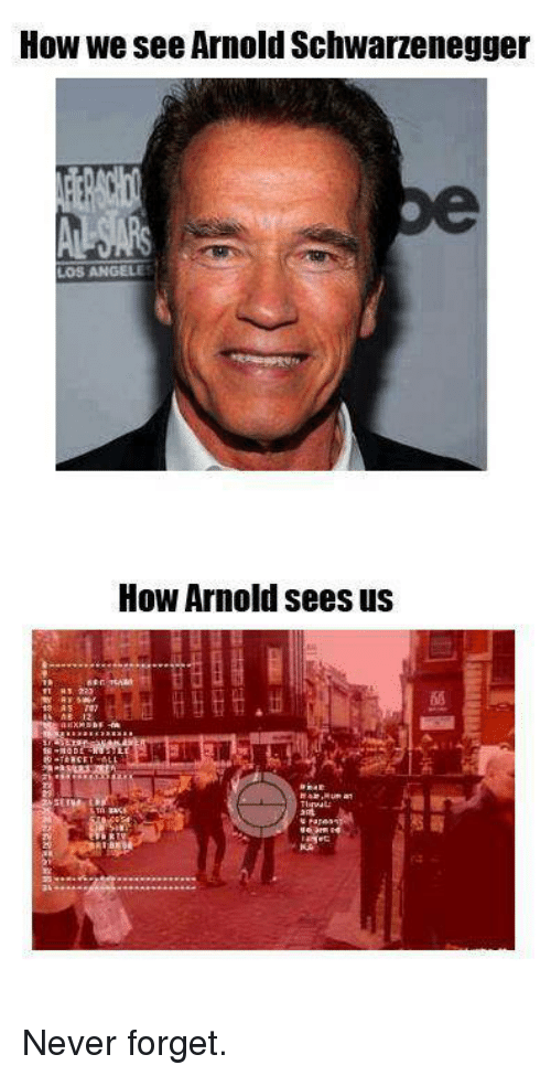 Arnold, Never Forget, and Forgeted: How we see Arnold Schwarzenegger  How Arnold sees us Never forget.