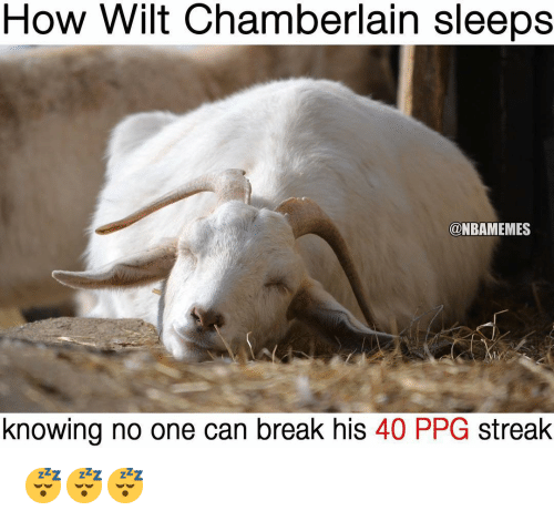 Nba, Break, and Wilt Chamberlain: How Wilt Chamberlain sleeps  @NBAMEMES  knowing no one can break his 40 PPG streak 😴😴😴