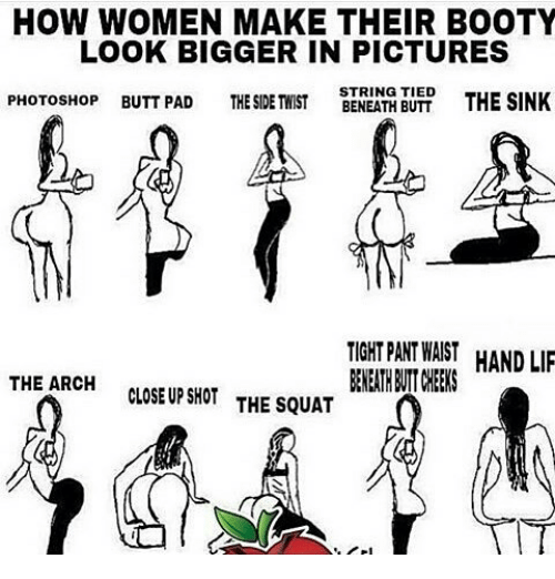 How Women Make Their Booty Look Bigger In Pictures Photoshop Butt