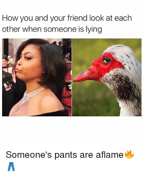 Funny, Lying, and How: How you and your friend look at each  other when someone is lying Someone's pants are aflame🔥👖