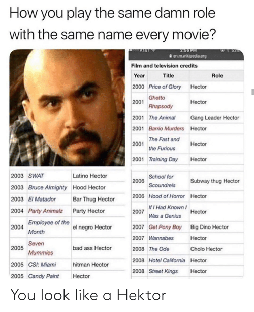 Bad, Candy, and Cholo: How you play the same damn role  with the same name every movie?  2456 PM  en.m.wikipedia.org  Al&1  Film and television credits  Year  Title  Role  2000 Price of Glory Hector  2001 Ghetto  Rhapsody  Hector  2001 The Animal  Gang Leader Hector  2001 Barrio Murders Hector  he Fast and  the Furious  2001  Hector  2001 Training Day  Hector  2006 School for  Scoundrels  2003 SWAT  Latino Hector  Subway thug Hector  2003 Bruce Almighty Hood Hector  2006 Hood of Horror Hector  2003 El Matador  Bar Thug Hector  If I Had Known  2007  2004 Party Animalz Party Hector  Hector  Was a Genius  Employee of the  Get Pony Boy  Big Dino Hector  2004  2007  el negro Hector  Month  2007 Wannabes  Hector  Seven  2005  bad ass Hector  2008 The Ode  Cholo Hector  Mummies  2008 Hotel California Hector  2005 CSI: Miami  hitman Hector  2008 Street Kings  Hector  2005 Candy Paint  Hector You look like a Hektor