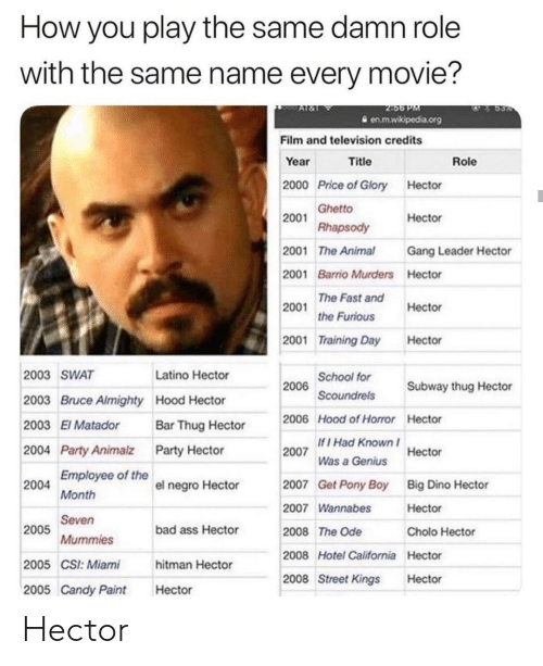 Bad, Candy, and Cholo: How you play the same damn role  with the same name every movie?  2456 PM  en.m.wikipedia.org  Al&  Film and television credits  Year  Title  Role  2000 Price of Glory Hector  2001 Ghetto  Rhapsody  Hector  Gang Leader Hector  2001 The Animal  2001 Barrio Murders Hector  he Fast and  the Furious  2001  Hector  2001 Training Day  Hector  2006 School for  Scoundrels  2003 SWAT  Latino Hector  Subway thug Hector  2003 Bruce Almighty Hood Hector  2006 Hood of Horror Hector  2003 El Matador  Bar Thug Hector  If I Had Known  2007  2004 Party Animalz Party Hector  Hector  Was a Genius  Employee of the  2007  Get Pony Boy  Big Dino Hector  2004  el negro Hector  Month  2007 Wannabes  Hector  Seven  2005  bad ass Hector  2008 The Ode  Cholo Hector  Mummies  2008 Hotel California Hector  2005 CSI: Miami  hitman Hector  2008 Street Kings  Hector  2005 Candy Paint  Hector Hector