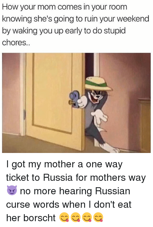 Memes, Russia, and Russian: How your mom comes in your room  knowing she's going to ruin your weekend  by waking you up early to do stupid  chores. I got my mother a one way ticket to Russia for mothers way😈 no more hearing Russian curse words when I don't eat her borscht 😋😋😋😋