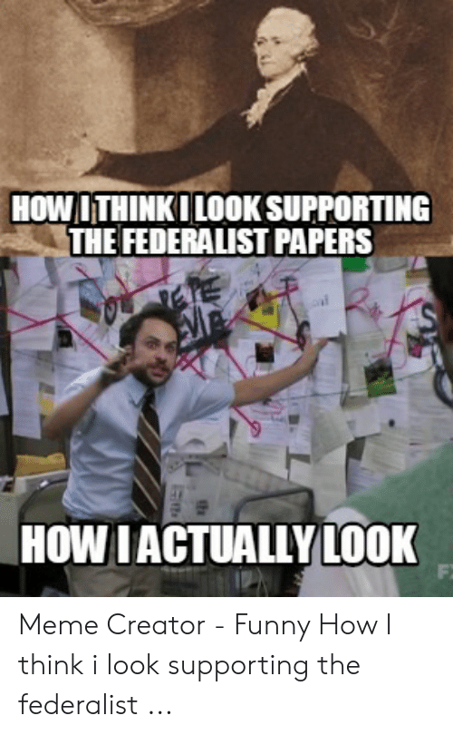 Funny, Meme, and How: HOWITHINKI LOOK SUPPORTING  THE FEDERALIST PAPERS  HOW IACTUALLY LOOK Meme Creator - Funny How I think i look supporting the federalist ...