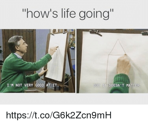 Life, Memes, and Good: how's life going  I'M NOT VERY GOOD AT IT  BUT IT DOESN'T MATTER https://t.co/G6k2Zcn9mH