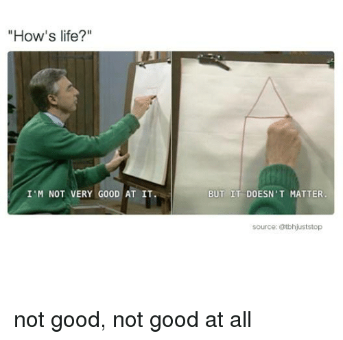 """Memes, 🤖, and How: """"How's life?  I'M NOT VERY G00D AT IT.  BUT IT DOESN'T MATTER  source: atbhjuststop not good, not good at all"""