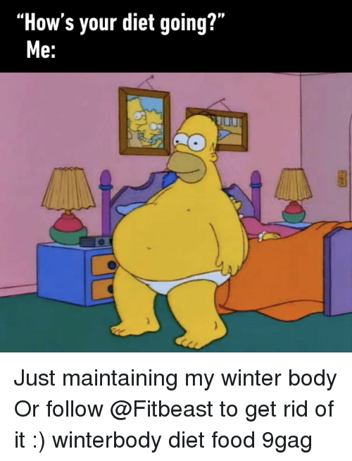 "9gag, Food, and Memes: ""How's your diet going?""  e. Just maintaining my winter body Or follow @Fitbeast to get rid of it :) winterbody diet food 9gag"