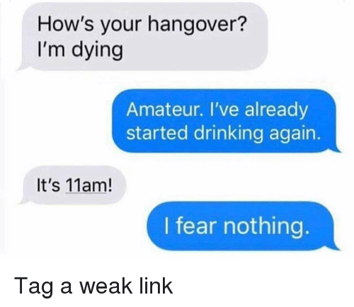 Drinking, Funny, and Hangover: How's your hangover?  I'm dying  Amateur. I've already  started drinking again.  It's 11am!  I fear nothing. Tag a weak link