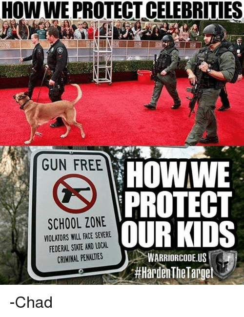 Memes, School, and Free: HOWWE PROTECT CELEBRITIES  GUN FREE  HOWWE  PROTECT  OUR KIDS  SCHOOL ZONE  VIOLATORS WILL FACE SEVERE  FEDERAL STATE AND LOCAL  CRIMINAL PENALTIES  WARRIORCODE.US  -Chad