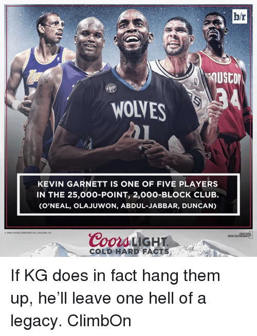 Beer, Club, and Doe: hr  WONES  KEVIN GARNETT IS ONE OF FIVE PLAYERS  IN THE 25,000-POINT, 2,000-BLOCK CLUB.  (O'NEAL, OLAJUWON, ABDUL JABBAR, DUN CAN)  2016 COORS BREWING CO., GOLDEN, CO  Coors LIGHT  GREAT BEER  GREAT RESPONSIBILITY  COLD HARD FACT If KG does in fact hang them up, he'll leave one hell of a legacy. ClimbOn