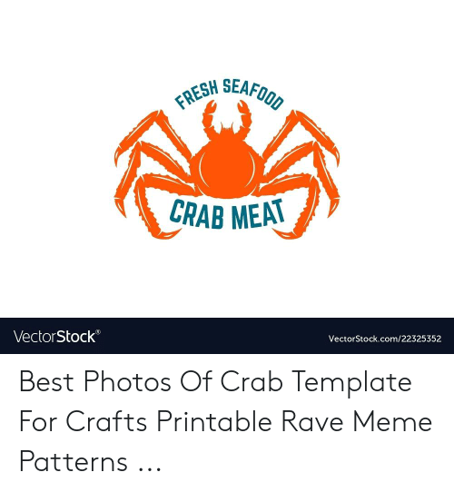 graphic about Crab Stencil Printable titled HSEAFOOD New SEA CRAB MEA VectorStock