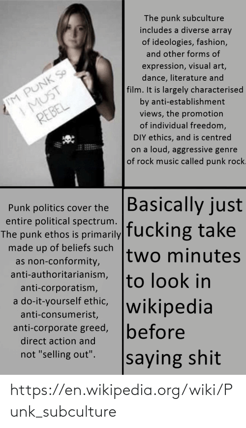 Wikipedia, Wiki, and Dank Memes: https://en.wikipedia.org/wiki/Punk_subculture