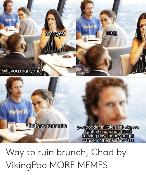 Dank, Memes, and Omg: Hu ey  Hurey  omg yes!  omg  will you marry me?  Hurey  thats so romantic  you goddamn little shitfuck now  Igotta hearabut this all  fucking day l hopeyouget  cancer of the balls and ass Way to ruin brunch, Chad by VikingPoo MORE MEMES