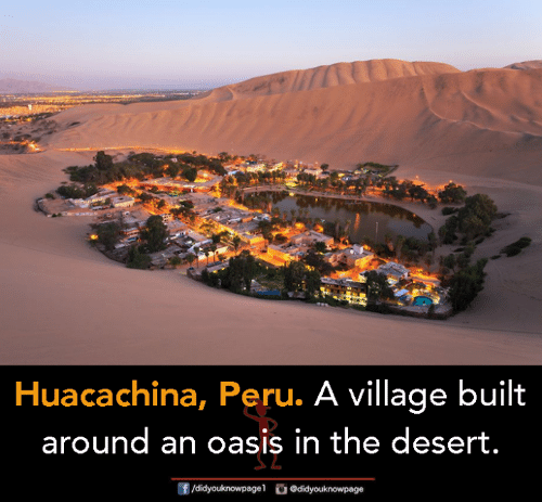 Memes, Oasis, and Peru: Huacachina, Peru. A village built  around an oasis in the desert.