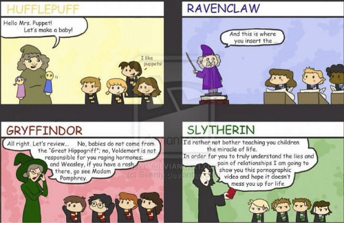 Gryffindor Hello And Memes HUFFLEPUFF RAVENCLAW Mrs Puppet Lets Make
