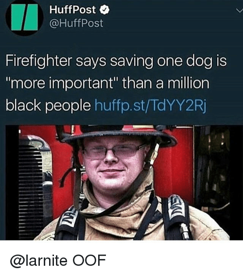 """Black, Firefighter, and Black People: HuffPost  @HuffPost  Firefighter says saving one dog is  more important"""" than a million  black people huffp.st/TdYY2F @larnite OOF"""
