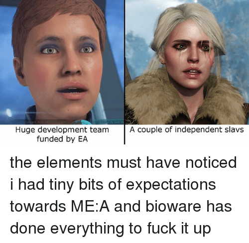 Video Games, Team, and Huge: Huge development team  A couple of independent slavs  funded by EA the elements must have noticed i had tiny bits of expectations towards ME:A and bioware has done everything to fuck it up