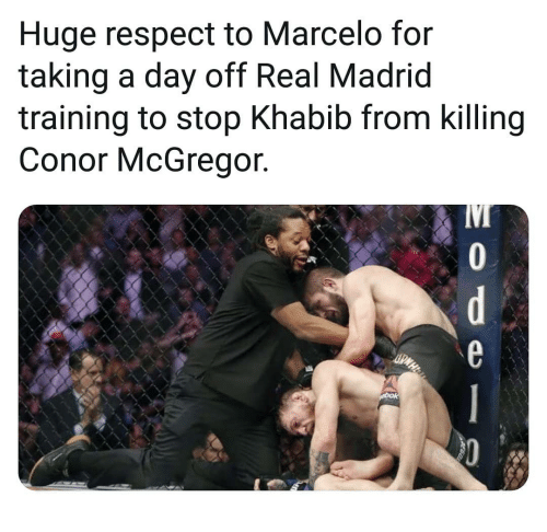 Conor McGregor, Memes, and Real Madrid: Huge respect to Marcelo for  taking a day off Real Madrid  training to stop Khabib from killing  Conor McGregor.