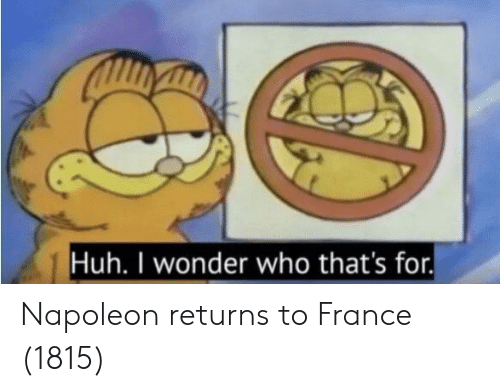 Huh, France, and Wonder: Huh. I wonder who that's for. Napoleon returns to France (1815)