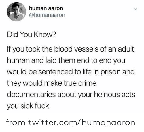 Crime, Dank, and Life: human aaron  @humanaaron  Did You Know?  If you took the blood vessels of an adult  human and laid them end to end you  would be sentenced to life in prison and  they would make true crime  documentaries about your heinous acts  you sick fuck from twitter.com/humanaaron