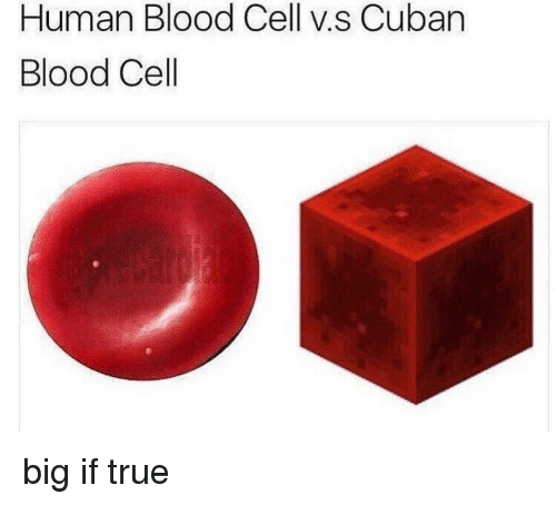 True, Cuban, and Blood: Human Blood Cell v.s Cuban  Blood Cell big if true