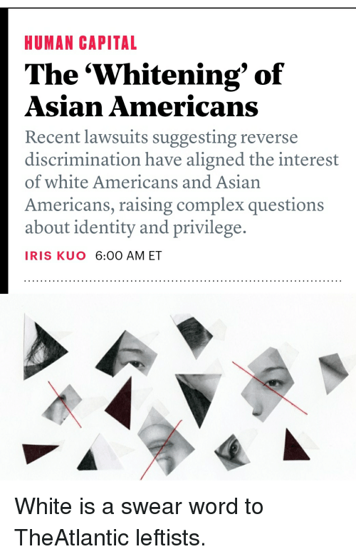 Reverse discrimination by asians