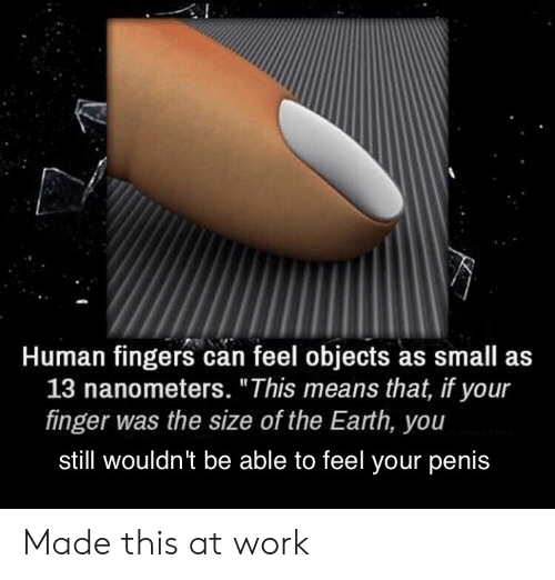 """Work, Earth, and Penis: Human fingers can feel objects as small as  13 nanometers. """"This means that, if your  finger was the size of the Earth, you  stll wouldn't be able to feel your penis Made this at work"""
