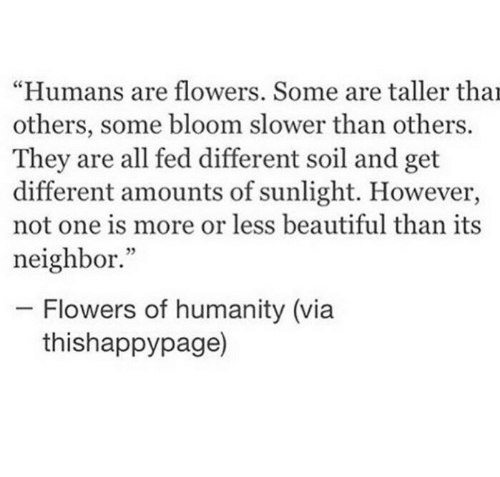 "Beautiful, Flowers, and Humanity: ""Humans are flowers. Some are taller tha  others, some bloom slower than others.  They are all fed different soil and get  different amounts of sunlight. However,  not one is more or less beautiful than its  neighbor.""  - Flowers of humanity (via  thishappypage)"