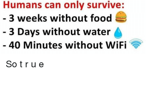 Humans Can Only Survive 3 Weeks Without Food 3 Days Without Water