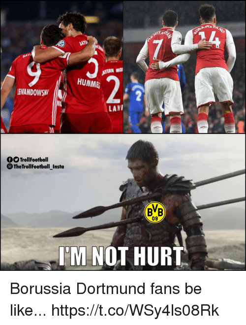 Be Like, Memes, and Borussia Dortmund: HUMME  EANDOWS  LANI  O TrollFootball  TheTrollfootbal Insta  BB  09  I'M NOT HURT Borussia Dortmund fans be like... https://t.co/WSy4ls08Rk