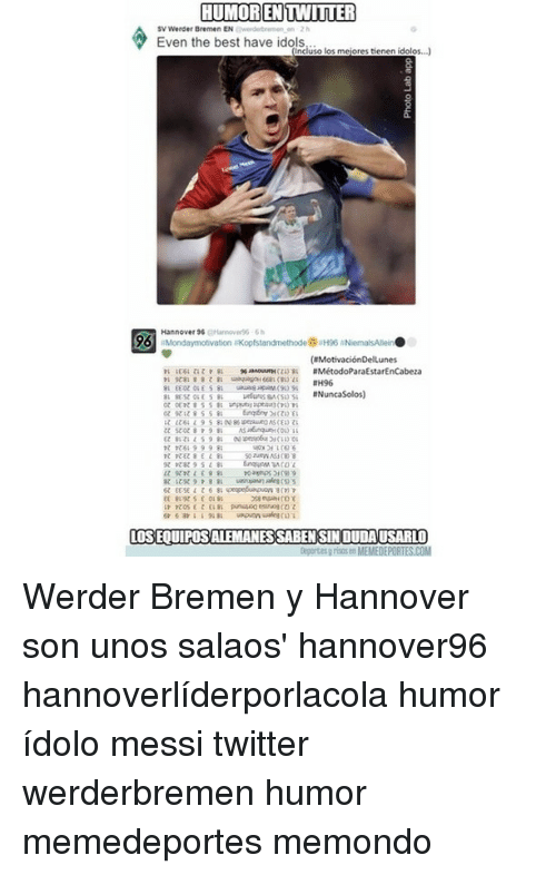 Memes, Twitter, and Best: HUMORENTWITTER  Even the best have idols.  Inciuso los meiores tienen id  Hannover 96 Hanove  #H96  #Nuncasolos)  unputnuosan (sus.  t 69998  LOS EOUIPOSALEMANES SABEN SIN DUDAUSARLO  depertes y risns en MEMEDEPORTES.COM Werder Bremen y Hannover son unos salaos' hannover96 hannoverlíderporlacola humor ídolo messi twitter werderbremen humor memedeportes memondo