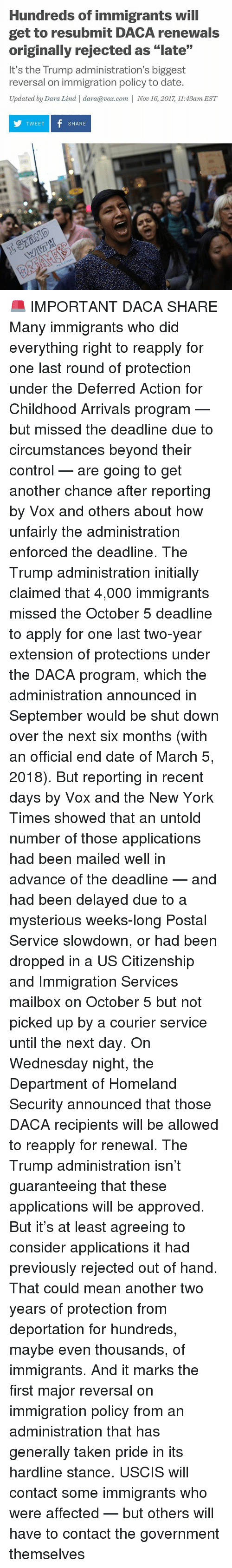 "Memes, New York, and Taken: Hundreds of immigrants will  get to resubmit DACA renewals  originally rejected as ""late""  It's the Trump administration's biggest  reversal on immigration policy to date.  Updated by Dara Lind 