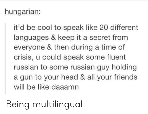 Be Like, Friends, and Head: hungarian:  it'd be cool to speak like 20 different  languages & keep it a secret from  everyone & then during a time of  crisis, u could speak some fluent  russian to some russian guy holding  a gun to your head & all your friends  will be like daaam Being multilingual