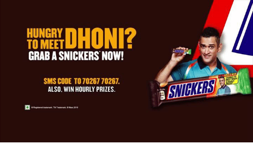 HUNGRY TO MEET GRAB a SNICKERS NOW! DHONI? SMS CODE TO 70267