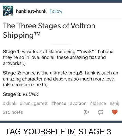 Hunk Iest-Hunk Follow the Three Stages of Voltron Shipping