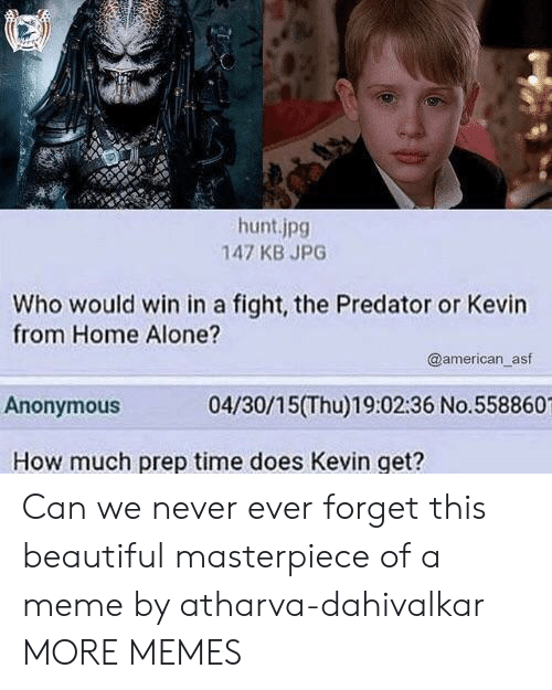 Being Alone, Beautiful, and Dank: hunt.jpg  147 KB JPG  Who would win in a fight, the Predator or Kevin  from Home Alone?  @american_asf  Anonymous  04/30/15(Thu)19:02:36 No.558860  How much prep time does Kevin get? Can we never ever forget this beautiful masterpiece of a meme by atharva-dahivalkar MORE MEMES