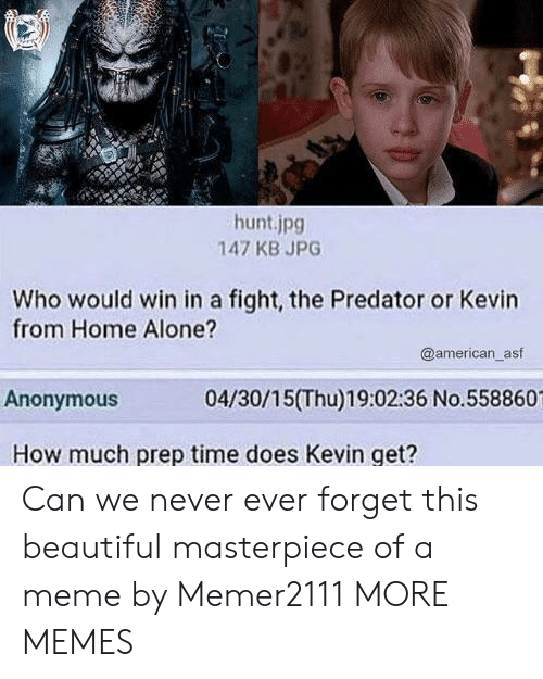 Being Alone, Beautiful, and Dank: hunt.jpg  147 KB JPG  Who would win in a fight, the Predator or Kevin  from Home Alone?  @american_asf  Anonymous  04/30/15(Thu)19:02:36 No.558860  How much prep time does Kevin get? Can we never ever forget this beautiful masterpiece of a meme by Memer2111 MORE MEMES