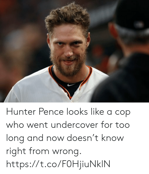 Sports, Hunter Pence, and Hunter: Hunter Pence looks like a cop who went undercover for too long and now doesn't know right from wrong. https://t.co/F0HjiuNklN