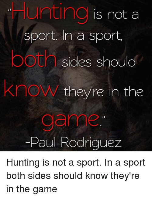 20cddbebbc60b Hunting Is Not a Sport in a Sport OOtAsides Should KnoW Theyre in ...