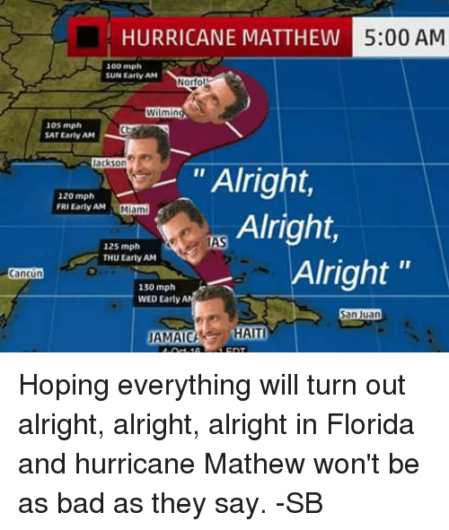 """Bad, Memes, and Cancun: HURRICANE MATTHEW  5:00 AM  100 mph  SUN Early AM  Norfo  Wilmin  105 mph  SAT Early AM  ackson  """"Alright  120 mph  FRIEarty AM  Miami  Alright,  1MAS  125 mph  THU Early AM  Alright  Cancun  130 mph  WED Earty AM  San Juan  AMACH HAITI Hoping everything will turn out alright, alright, alright in Florida and hurricane Mathew won't be as bad as they say.  -SB"""